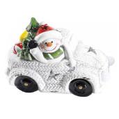 Decoratiune masina ceramica cu led Om Zapada cm 12 x 8 x 11 H