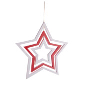 Decoratiune suspendabila din lemn alb rosu model Stea 48x2x50 cm