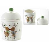Borcan Craciun ceramic decorativ cu capac model Ren Ø 11 cm x 16 H