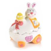 Ou Paste cu model Iepuras ceramica cm 12 cm x 10 cm x 13 H