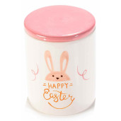 Borcan decorativ model Happy Easter ceramica roz alb Ø 10 cm x 16 H