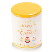Borcan decorativ model Happy Easter ceramica galben alb Ø 10 cm x 16 H