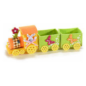 Trenulet decor Iepuras textil portocaliu verde cm 27 x 7 cm x 10