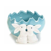 Ou Paste ceramica model Iepurasi albastru 11 cm x 11 cm x 6 h
