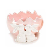 Ou Paste ceramica model Iepurasi roz 11 cm x 11 cm x 6 h