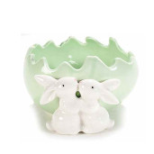 Ou Paste ceramica model Iepurasi verde 11 cm x 11 cm x 6 h