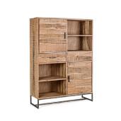 Biblioteca din lemn maro Elmer 2 usi 2 sertare 118 cm x 40 cm x 165 h