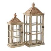 Set 2 felinare din lemn natur patinat metal si sticla 20 cm x 12 cm x 48 h; 26 cm x 19 cm x 63 h