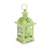 Felinar metal sticla verde 7 cm x 7 cm x 16 H