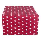 Fata de masa bumbac rosu alb model stelute 50x140 cm