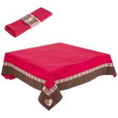Fata de masa cu 12 servetele bumbac rosu 145 cm X 270 cm