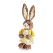 Figurina Iepuras Paste Girl rochita galbena textil fibre naturale 14 cm x 33 h