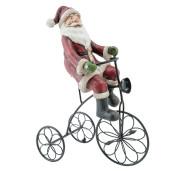 Figurina Mos Craciun cu tricicleta polirasina 20x10x26 cm