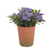 Flori artificiale mov in ghiveci maro Ø8x16h