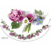 Ghirlanda flori artificiale peonia margarete albe roz albastru cm 220 H