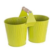 Ghiveci metal verde pentru flori dublu 26 cm x 13 cm x 20 h