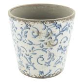 Ghiveci pentru flori din ceramica alba albastra vintage Ø 14 cm x 13 cm