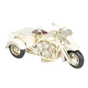 Macheta motocicleta retro metal crem antichizat 22 cm x11 cm x 11 cm