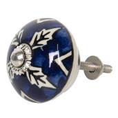 Buton mobila din fier si ceramica albastra alba Ø 4 cm