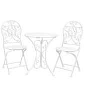 Set mobilier gradina 2 scaune pliabile si masa fier forjat alb Garden Ø 60 cm x 70 h