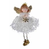 Ornament brad Inger alb cm 7 x 15 H