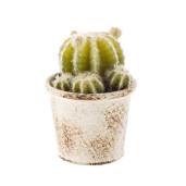 Cactus artificial in ghiveci alb patinat 10 x 10 x 11h