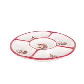 Platou Craciun ceramica alb rosu compartimentat Ø25