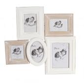 Rama foto de perete lemn alb natur vintage Randy 48 cm x 38 cm
