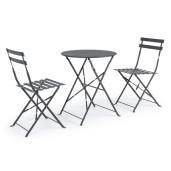 Set 2 scaune pliabile si masa pliabila fier forjat gri Wissant  ø 60 cm x 71 h