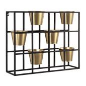 Etajera perete 6 suporturi ghiveci fier negru auriu 59 cm x 16 cm x 48h