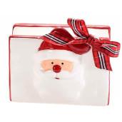 Suport ceramic servetele Mos Craciun alb rosu cm 11 x 6 x 10 H