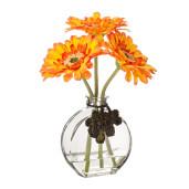 Set vaza sticla cu 3 flori gerbera artificiala portocalii 20 H
