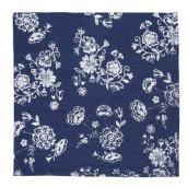 Fata de masa bumbac albastru alb Flowers 130 cm x 180 cm