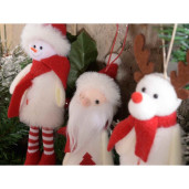 Ornament brad Om Zapada alb rosu cm 7 x 20 H