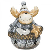 Candela ceramica Ren Silver 21 cm x 15 cm