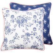 Fata de perna bumbac Blue Flowers 40 cm x 40 cm