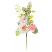 Creanga decorativa artificiala dalia trandafir roz 46 cm