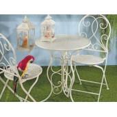 Set 2 scaune pliabile si masa fier forjat crem