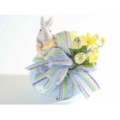 Ou Paste cu model Iepuras ceramica albastru galben cm 14 x 10 cm x 15 h