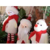 Ornament brad Ren alb rosu 7 cm x 20 h