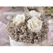 Aranjament cu trandafiri artificiali model inima alb cm 9 cm x 9 cm x 9 H