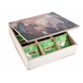 Cutie ceai lemn 9 compartimente model Leopard cm 24 x 24 cm x 7 H