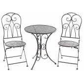 Set 2 scaune pliabile si masa fier forjat maro