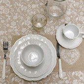 Ceasca cu farfurioara ceramica alba Cuore 15x8 cm