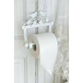 Suport hartie igienica de perete fier forjat alb Bird 21 cm x 7 cm x 17 cm