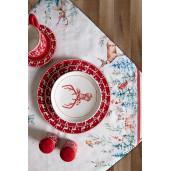 Farfurie ceramica rosu alb model Ren Ø 21 cm
