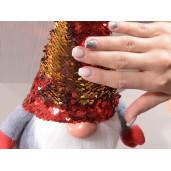 Figurina Spiridus textil caciula paiete rosii cm 17x12x35 H