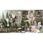 Felinar decorativ Craciun lemn natur cu led cm 20 x 20 x 76 H