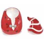 Borcan ceramic rosu alb cu capac decorativ Spiridus cm 13 x 13 x 20 H