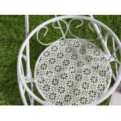 Suport flori fier forjat alb patinat tip bicicleta 3 ghivece cm 66,5 x 24 x 48 H